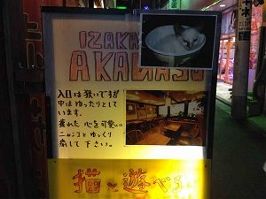 猫居酒屋赤茄子の立て看板