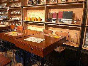文房具カフェの机にはカギが